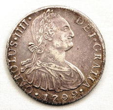 Spain – Carlos IV - 8 Reales in Silver – 1799 – Lima