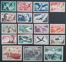 France 1946-1959 – Airmail, selection of 18 stamps – Yvert no. 16-29 and 34-37.