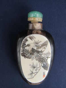 Ivory  signed Snuff bottle - China - Early 20th century