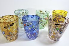 Murano - set of 6 Goti with murrine and silver leaf