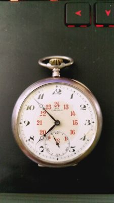 Omega pocket watch with 24h. dial. From approx. 1915