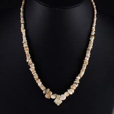 Necklace with Ancient stone, shell and glass beads with quartz drop pendant - 49 cm