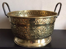 A large copper flower pot with handles and riveted nails, first half 20th century