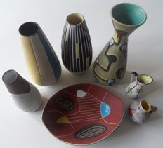 Collection earthenware vases and tray