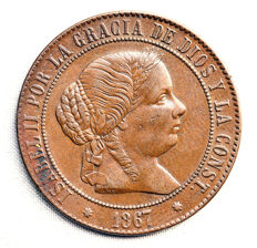 Spain – Isabel II – 5 Centimos de Escudo in copper – 1867 – Seville