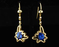No Reserve-D-BLOCK Natural 3.10ctw Tanzanite And Diamond 18K Gold Abstract Dangle Earrings