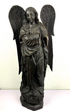 Large brown stained wooden angel with two wings - possibly Russia - 2nd half of 19th century