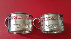 Set of 2 small Sterling Silver teaglass holders Birmingham 1921 & 1922