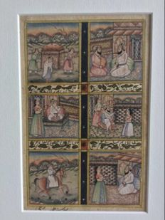 Mughal Painting  6 miniature's ,signed - India - early 20th century