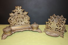 richly decorated bronze ink stand and letter holder