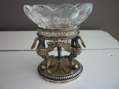German silver salt cellar met crystal bowl, approx. 1900
