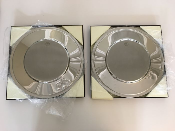Set of 12 large stainless steel 18/10 under plates - Jean Couzon, goldsmith