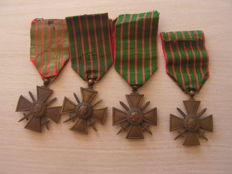 Nice set of 4 military medals 1915 1916 1917 1918 ww1