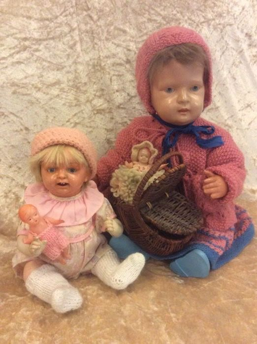 German Turtle doll in diamond Schutz Marke and a celluloid J.D.K 203 doll by Kestner