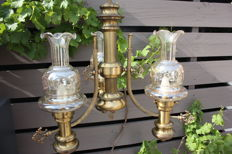 Large brass coloured hanging lamp / Three glass shades with engraving.