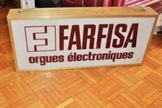 Illuminated advertising sign for Farfisa electronic organs