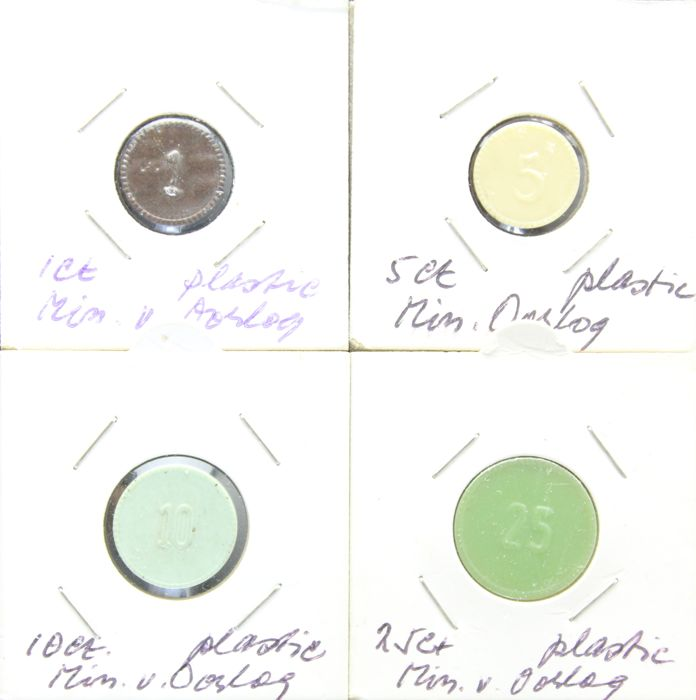 The Netherlands – 1, 5, 10 and 25 cents (1949) 'Ministry of War' (4 different) – plastic