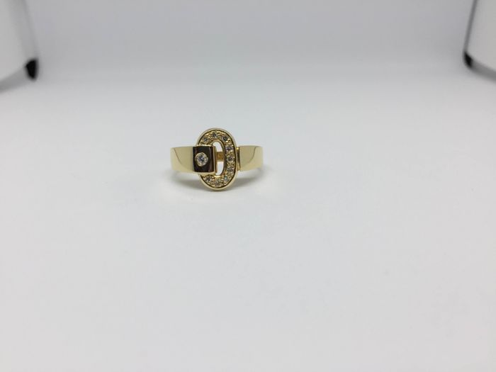 18 kt gold ring with diamonds – Ring size: 15