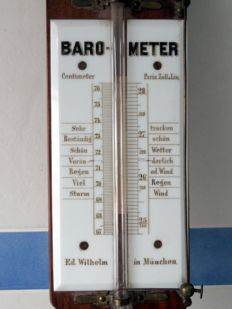 Rare and early Biedermeier era barometer from 'Ed. Wilhelm' Munich, made of wood and a mercury column, ca. 1810