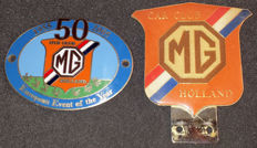 Two beautiful MG grill badges - MG Car Club Holland - 1955 - 2005 - 50 years MG Car Club Holland