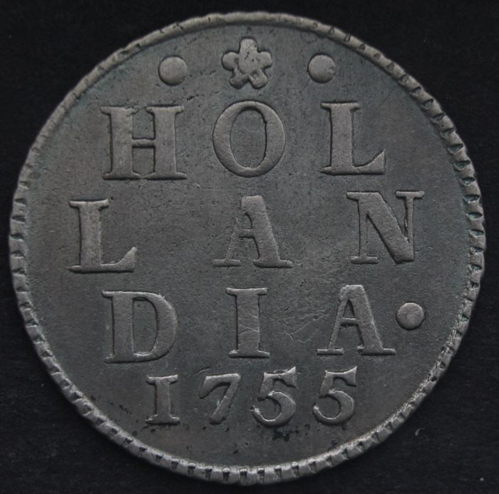 Holland – Duit 1755 (Strike in silver) with cable edge