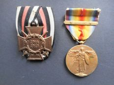 """1st World War - Victory medal with rare 'Asiatic' clasp, official issue 1917-1918 - with a German Cross 'für Frontkämpfer"""""""