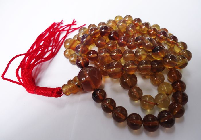 108 Round Beads Mala Necklace Indonesian Yellow Blue Amber 8 mm