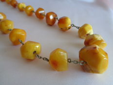 Natural Baltic Amber necklace rare opaque colour 71 gr., vintage 1950's