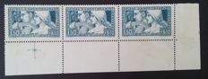 France 1928 - Caisse d'Amortissement, 1 f. 50 + 8 f. 50 blue, the 3 types standing, signed Roumet and certificate Baudot - Yvert n ° 252