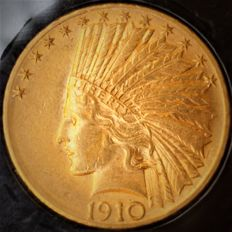 United States - 10 Dollars 1910 D (Denver) 'Indian Head' - gold