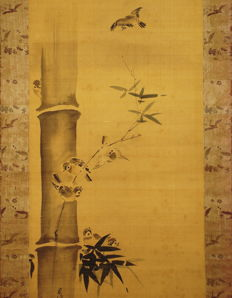 "Antique hanging scroll - ""Sparrows and Bamboo"" by Kano Sushin Chikanobu - Japan - ca. 1690 (Edo Period)"