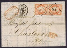 France 1854 - Ceres - 40 c. orange - vertical pair on  letter - signed Calves and Scheller and with Calves and Brun certificates - Yvert no. 5