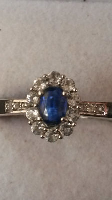 Genuine Nepalese Kyanite and Brazilian White Topaz. Stunning blue classical design.