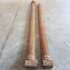 Pair of wooden columns in Doric style - End of 19th century