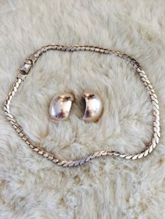 Lot of 2 pieces signed ''Christian Dior'' earrings & Coro necklace