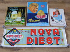 Four great advertising items for various products, period from 1935 to 1985.