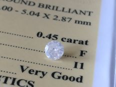 Diamond – 0.45 ct - F/I1 - VG/VG/VG ** No Reserve **