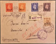 Previous Italian colonies – British Occupation – M.E.F. – Registered mail from Asmara to the city – 1942