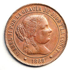 Spain – Isabel II – 5 centimos of escudo, copper – 1868 – Barcelona.