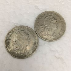 Portuguese Republic — 'Lindo Par' (Nice Couple) of 1 escudo coins — 1946 and 1951 — Alpaca