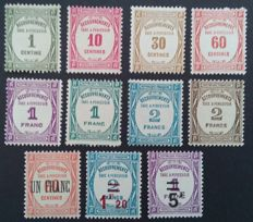 France 1927-31 – Postage Due, 2 complete series including 2 stamps signed Calves – Yvert n° 55-62 and 63-65.