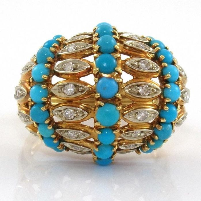 Ring with turquoise and diamonds 0.25 ct - 18 kt yellow gold - size 56.