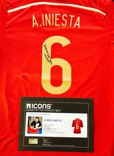 Andres Iniesta #6 /  Spain - Signed Home Jersey -  with Certificate of Authenticity & Photo Proof