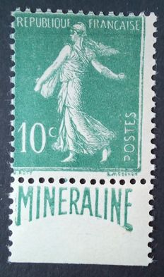 """France 1924-26 - """"Minéraline"""" 10 c green, signed Calves with digital certificate - Yvert no. 188A."""