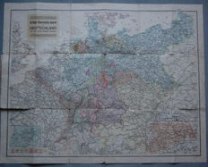 "German Reich; 2 original vintage 55 x 69 cm ""War overview map of Germany and bordering countries"" 1914"