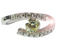 Yellow Diamond Engagement Ring in 14kt gold  - 7.5 US size / 56 1/2
