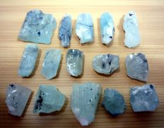 Rare Combination Of Black Tourmaline Crystals in Blue Aquamarine Crystals Lot - 55 gm