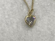 18 kt gold necklace and heart-shaped pendant with zirconia – 45 cm