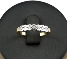 18 kt yellow gold – 18 kt white gold – Ring – Brilliant cut diamonds totalling 0.35 ct – Size 14 (Spain)