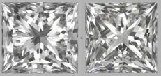 Pair of Princess Diamonds E VS2- E VS1  0.80ct Total  IGI  -Original Image-10X - Serial#1819-1974